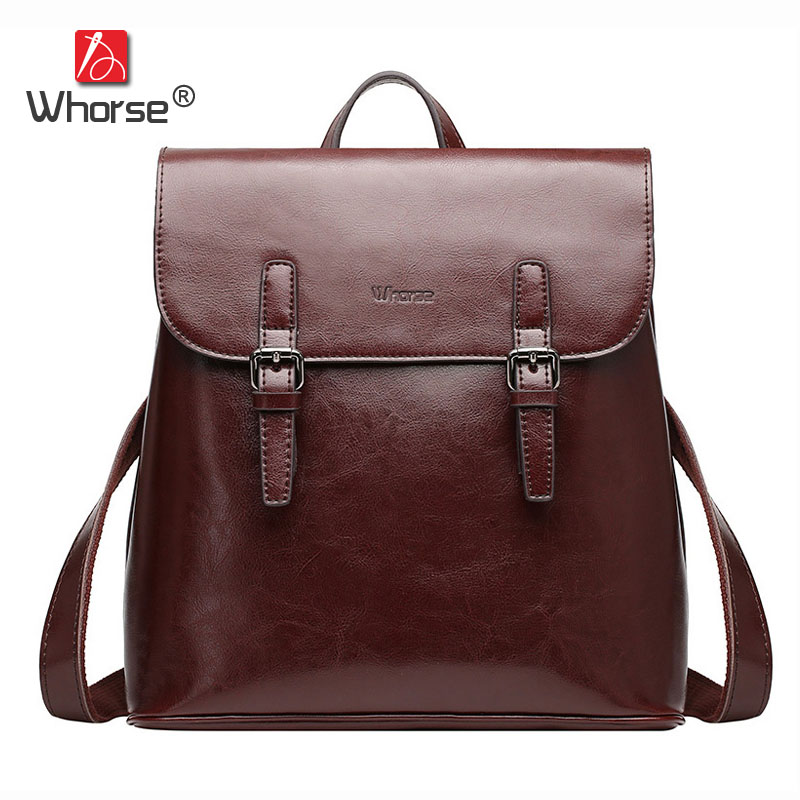 Vintage Large Capacity Genuine Leather Women Backpack School Bags Ladies Casual Backpacks High Quality Black Coffee Brown W07870 high quality genuine leather women backpacks female embossed flower backpack school bag vintage coffee ladies travel bags l0244