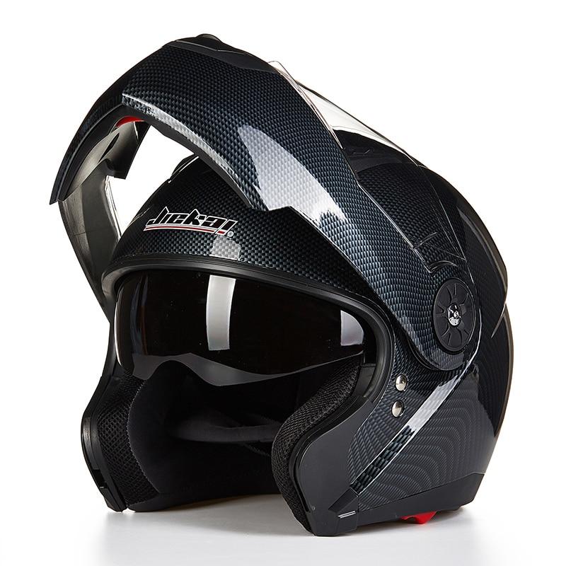 Carbon Fiber Motorcycle Helmet >> JEIKAI Motorcycle Helmet Flip Up Carbon fiber color Helmets With Removeable Inner Sun Visor ...