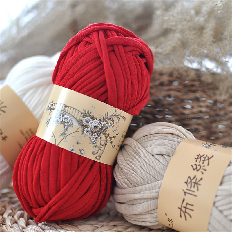 KOKNIT Knitting Thick Thread Crochet Cloth Yarn DIY Bag Handbag Carpet Cushion Cotton Cloth T-Shirt 100g/pcs 30M