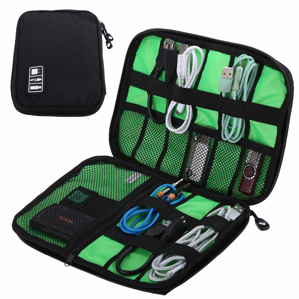 Vandtæt Outdoor Travel Kit Nylon Kabel Holder Bag Elektroniske Tilbehør USB Drive Opbevaring Etui Camping Vandret Organizer Bag