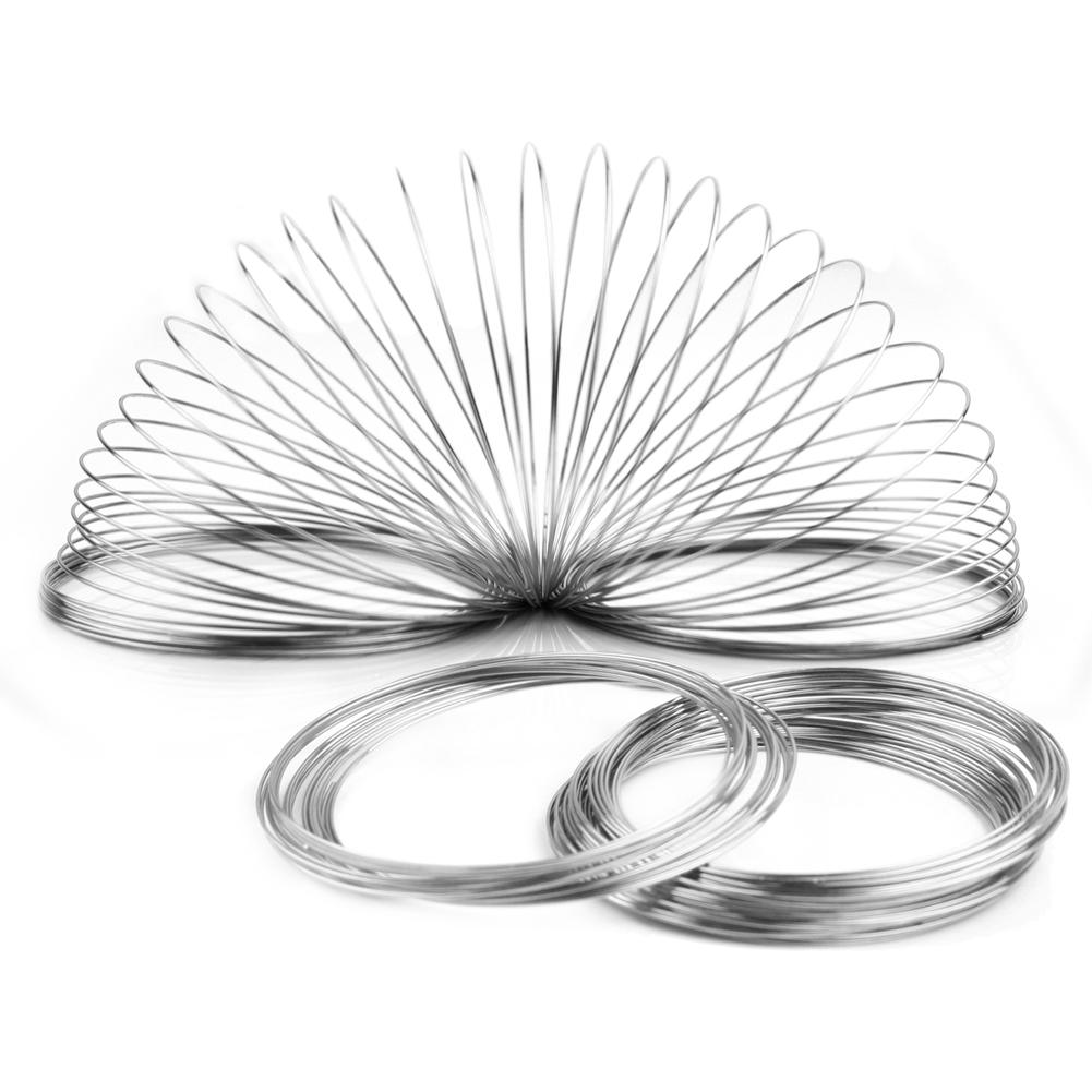 100 Loops Silver Plated Round Memory Beading Steel Wire for DIY Cuff Bangle Bracelet Making Jewelry Findings Craft 60mm Dia. pearl beading contrast trim bell cuff dress