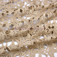 Blue Vine Roots Water Soluble Lace Embroidery Fabric 120cm