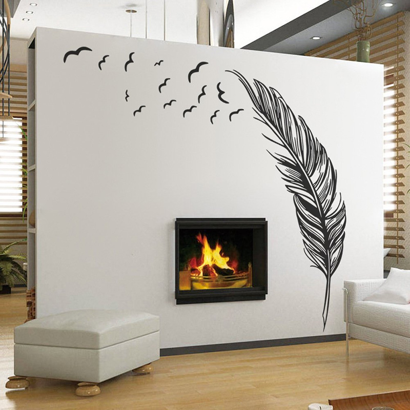 wall sticker vinyl birds flying feather bedroom home decal mural art decor wall stickers best. Black Bedroom Furniture Sets. Home Design Ideas