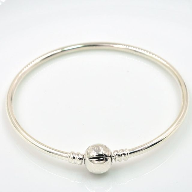 925 Sterling Silver Bangle Bracelet With Circle Clasp Diy Jewelry Fit European Brand Charm Bracelets Beads
