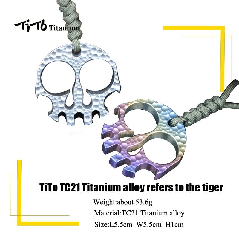 Многоцелевые инструменты TiTo EDC из титанового сплава, кратер метеорита, модель дизайна черепа, относится к брелку для ювелирных изделий, тита