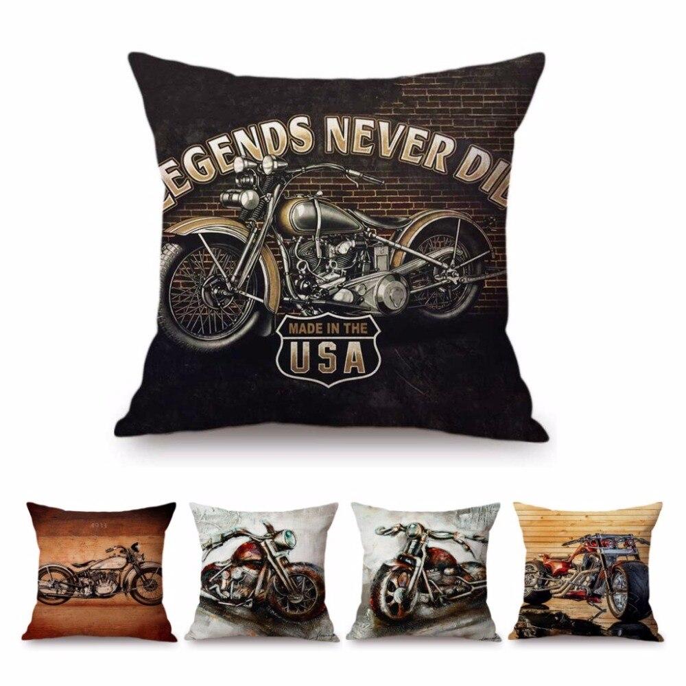 Old School Vintage motocicleta Art caso cojín decoración las leyendas nunca mueren fresco Retro algodón Lino sofá cojín cubierta