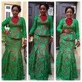 El tamaño más Verde y Rojo Africano Encaje Vestidos de Noche con mangas largas 2017 de Nigeria Sirena robe de soirée Vestido de Fiesta