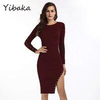 Yibaka Bayan Ünlü Zarif Vintage uzun Kollu Çalışma İş Parti Akşam Örgün Bodycon diz boyu Kılıf Elbise
