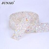 JUNAO 5 Yard 15mm Clear White AB Crystal Hotfix Rhinestone Chain Trim Band Resin Strass Applique