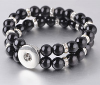 Hot Sale Snap Bracele Crystal Beads 18mm Snaps High Quality DIY Snap Buttons Jewelry For Women