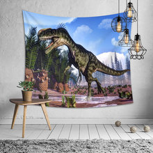 3d Dinosaur Hippie Tapestry Wall Fabric Jurassic Carpet Trippy Hanging Boho Home Decor Throw Blanket Picnic
