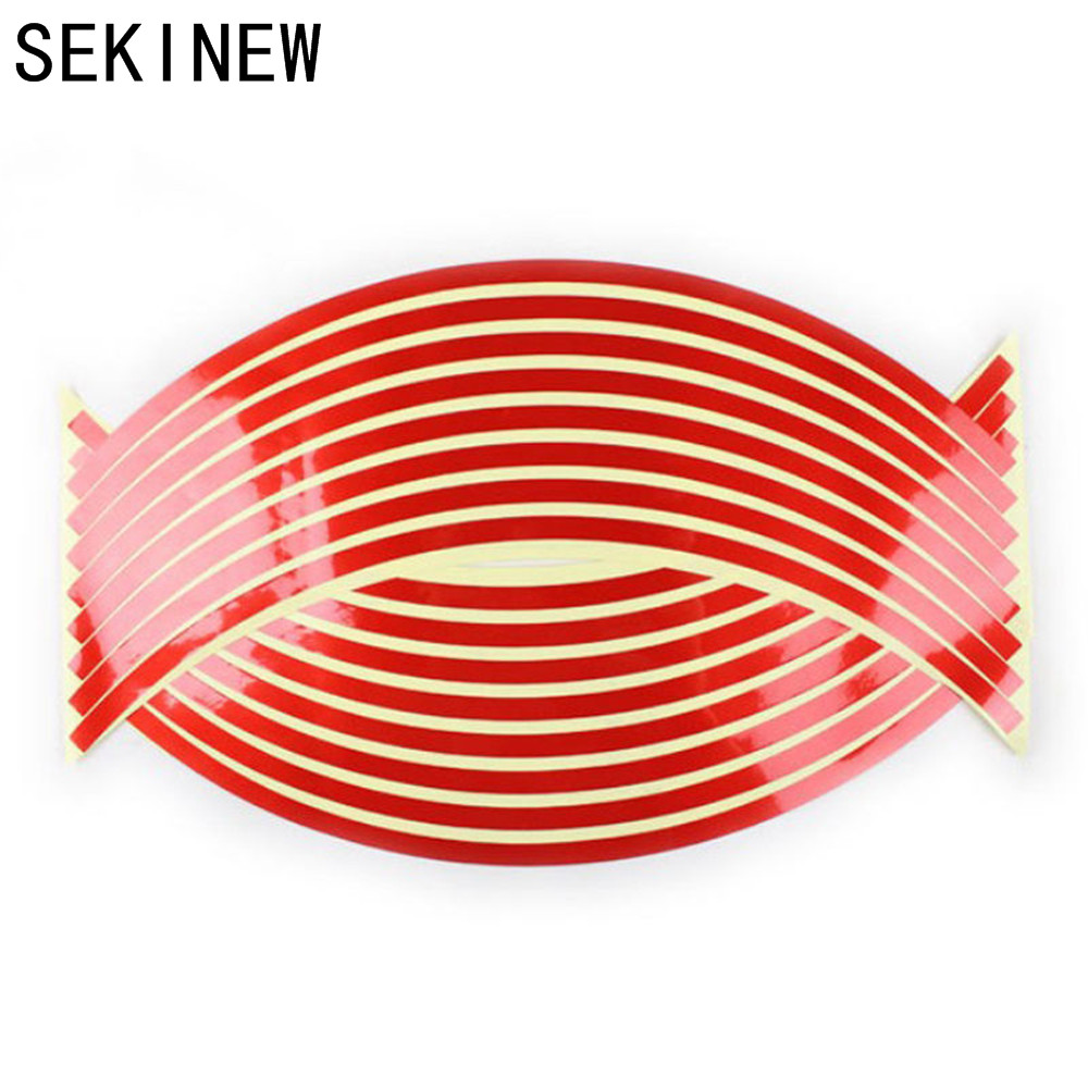 16 Pcs Strips Wheel Stickers And Decals 24'' Reflective Rim Tape Bike Motorcycle Car Tape 7 Colors Car Styling