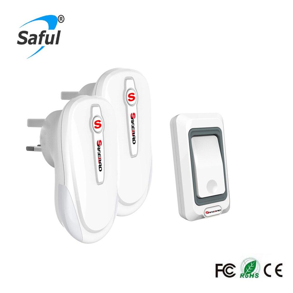 Waterproof Wireless DoorBell EU//US/UK/AU plug with Ourdoor Transmitter and Indoor Receiver Home Door Bell Free Shipping