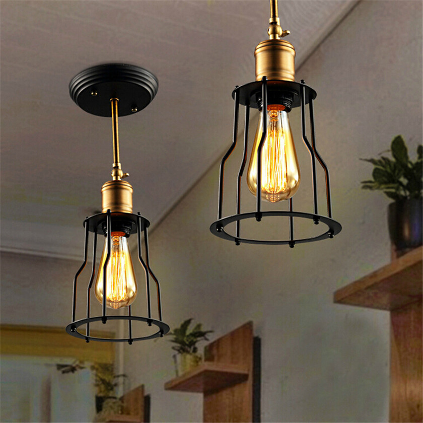 Industrial Home Lighting: Vintage Iron Black Led Ceiling Lights Luminaria Ceiling