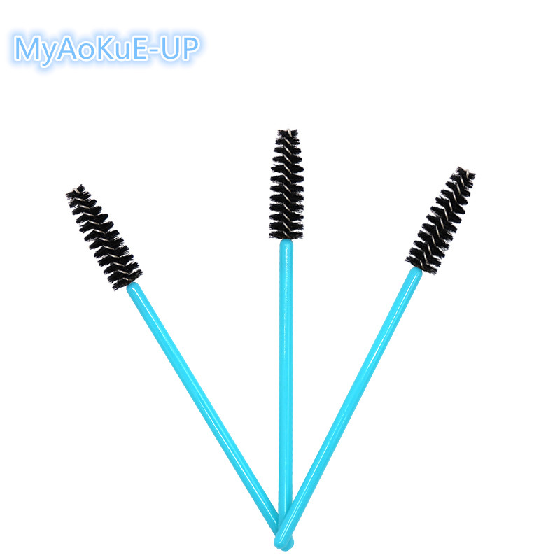 Disposable Makeup Brushes Blue Handle Mix Colors Brushes Nylon Mascara Wands Eyelash Extension 200pcs/lot Wholesale