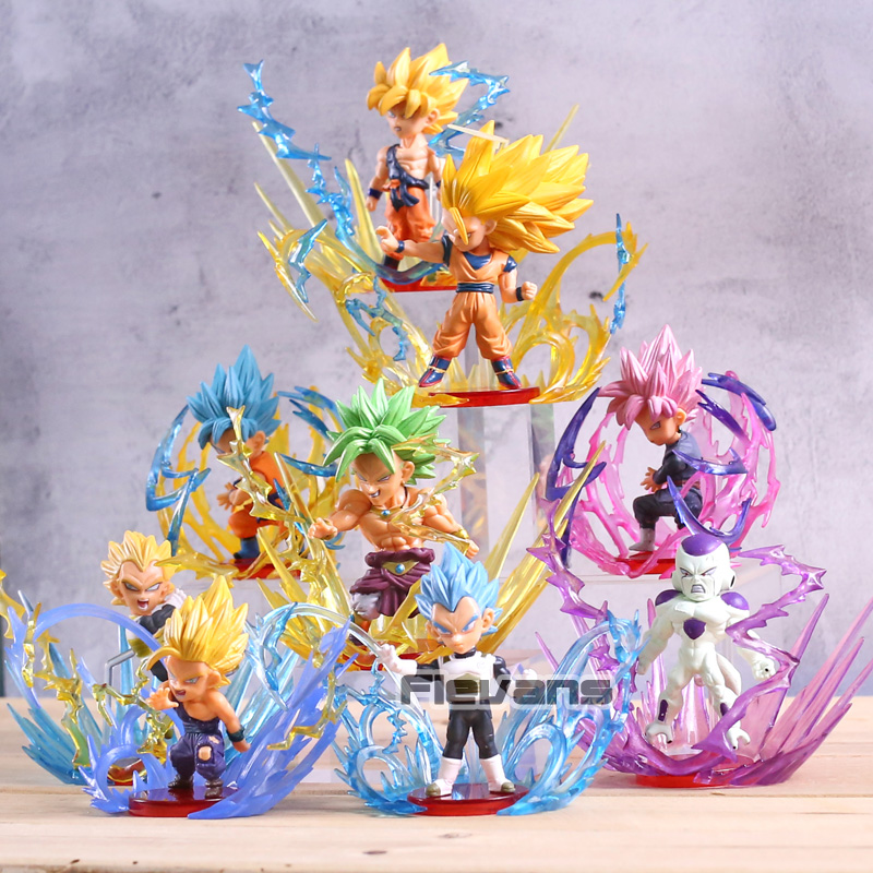 Dragon Ball Super éclaté Super Saiyan bleu Rose Son Goku Gohan Broly végéta Freeza WCF figurines Collection jouets 9 pièces/ensemble