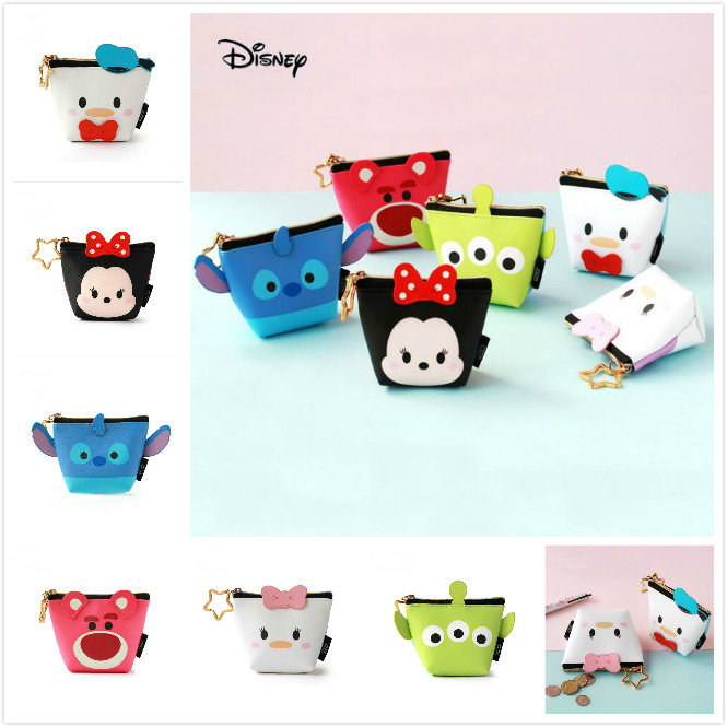 Genuine Disney Mickey Mouse Tsum Tsum Coin Wallet Toy Multi-functional Kawaii Money Bag Cartoon Anime Plush Toys For Kids