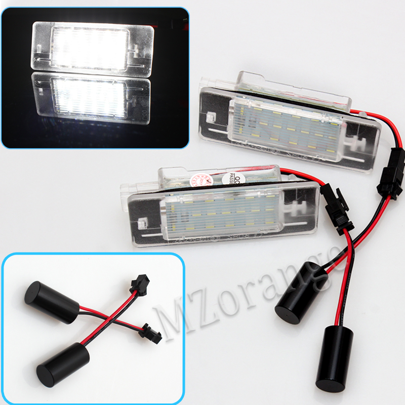 2x for Opel Vectra C Estate 2002-2008 Tourer Car Light Canbus 3528SMD Led License Plate Light Number Plate Lamp Car Light Bulbs cawanerl car canbus led package kit 2835 smd white interior dome map cargo license plate light for audi tt tts 8j 2007 2012