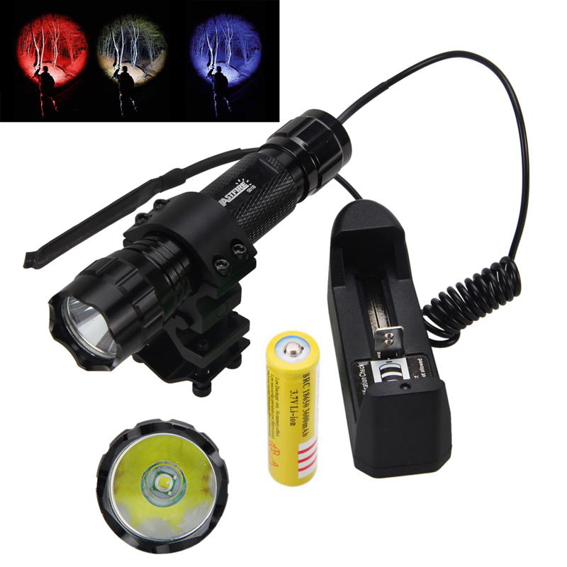 Tactical 3 Color LED 5000Lm Flashlight Torch Mount Lamp Rifle Gun Rail 18650