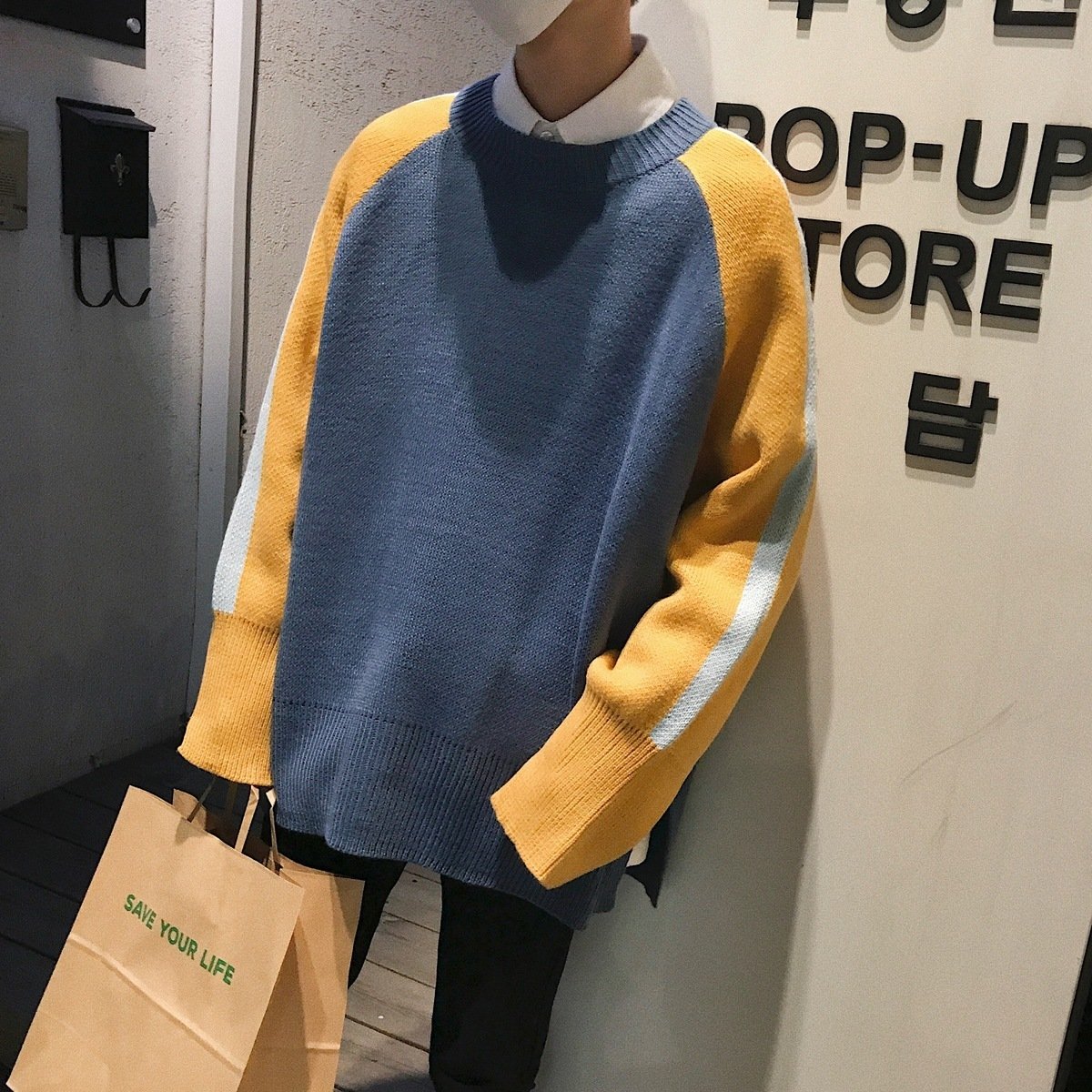 Image 2 - 2018 Korean Style New Mens Fashion Splice Color Loose Causal  Coats Blue/Khaki Woolen Pullover Casual Cashmere Sweater Size M  XLPullovers