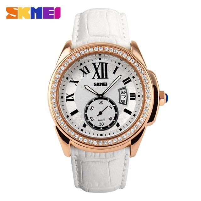 2ee8ab6e3754 Skmei reloj mujeres moda casual relojes de cuarzo reloj de diamantes correa  de cuero sport vestido
