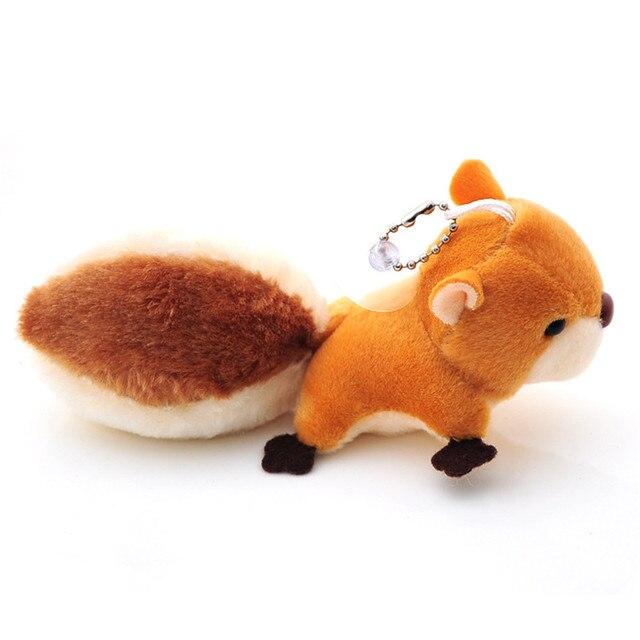 2018 Nova 8 cm kawaii keychain da páscoa Bonito esquilo de pelúcia KeyChain brinquedo Pingente Pendurar decoração de Pele Animal de Pelúcia chave do Saco Das Mulheres anel