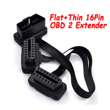 Flache + Dünne 16Pin OBD 2 Extender OBD2 16 Pin ELM327 Stecker Auf Dual Weibliche Y Splitter Ellenbogen OBDII Verlängerung stecker Kabel Auf Lager