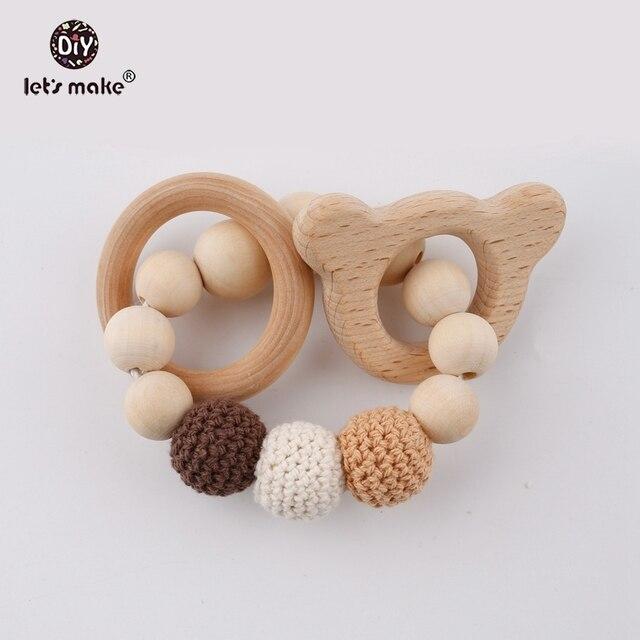 Let S Make Crochet Beads Baby Organic Rattle Bracelet Cute Animal Food Grade Wood Beart Circles Chew Wooden