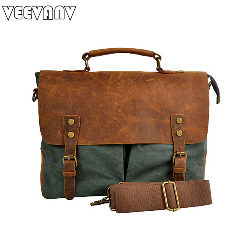 2017 VEEVANV Brand male single-shoulder bag leather men messenger bags new arrival  Retro canvas bags free shipping  MBBSB00094