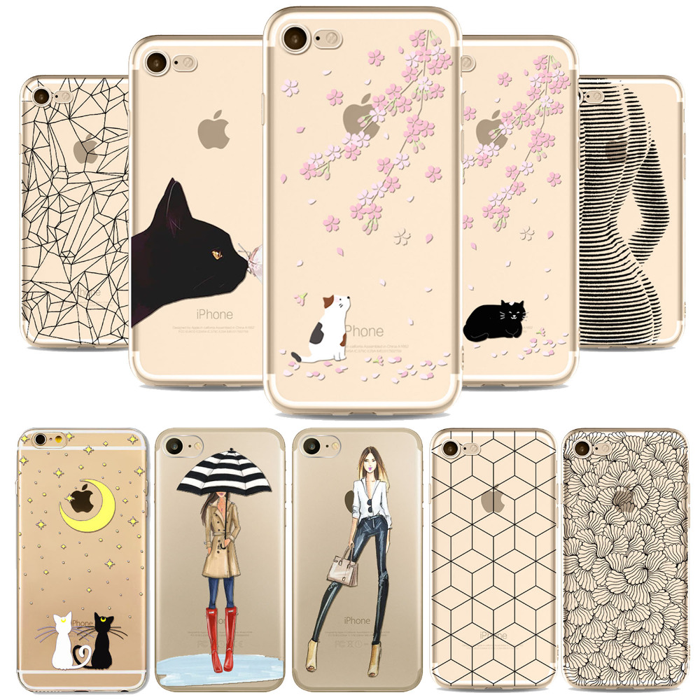 Elegant Ballet Girl Phone Case For iphone 4 4s 5 5s 6 6s 6plus 6splus Bautiful Cats Painted Patterns Soft Transparent Back Case