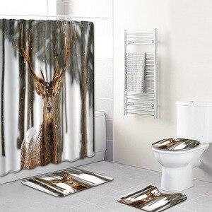 Image 4 - בעלי החיים צבי דפוס עיצוב 4 חתיכות אמבטיה וילון עמיד למים בד וילון מקלחת שטיח סט אסלת חדר אמבטיה