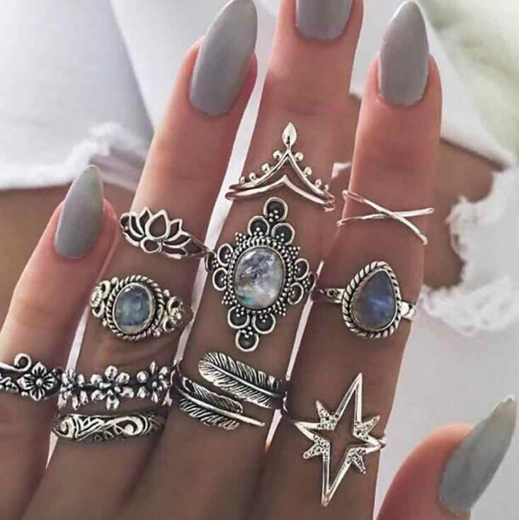 Hot 11PCS Vintage Blue Crystal Rings Set for Women Silver Lotus Feather Boho Midi Knuckle Rings Statement Fashion Jewelry Gift