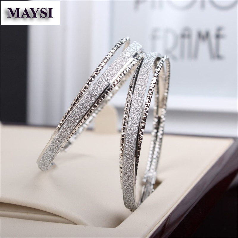 New Fashion Crystal Silver Plated Large Hooped Earrings Rhinestone Gold Circle Hoop For Women Wedding Jewelry Ec In From