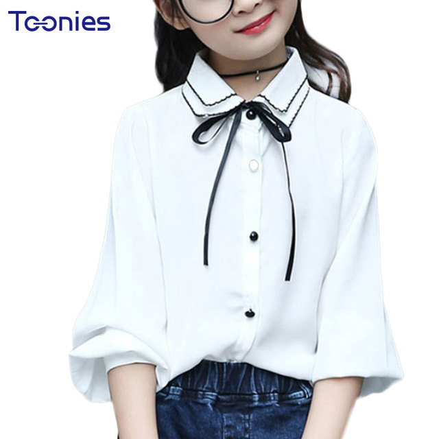 a6fe461de9d Осень блузки для девочек галстук-бабочка сплошной Длинные рукава школьные  рубашки модные Повседневное Топы корректирующие