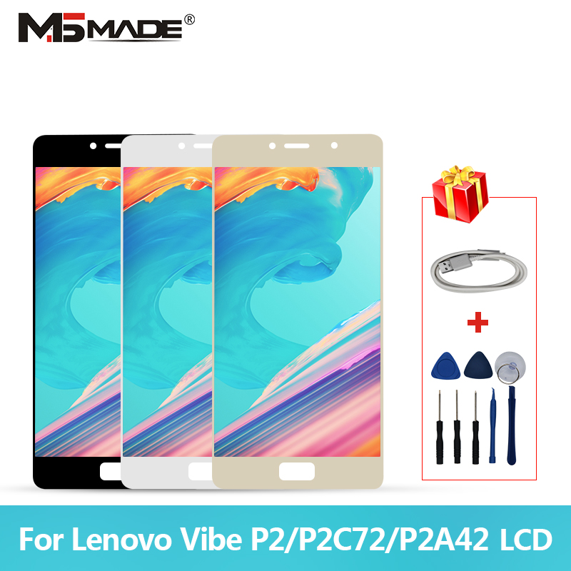 5.5 Original Para Lenovo Vibe P2 Display LCD de Toque Digitador Da Tela Com Moldura Para Lenovo P2 P2c72 P2a42 Exibição peças de montagem
