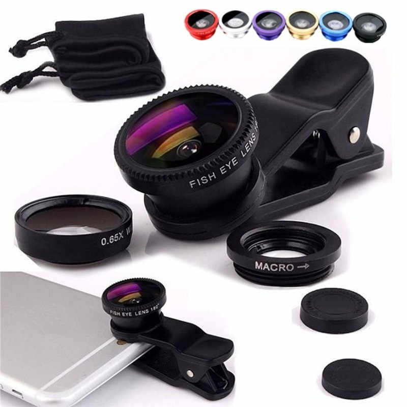 Fish Eye for iPhone Huawei Samsung Xiaomi Telefoon Phone Lens fisheye +wide angle +macro camera lenses  objetivo movil telelens