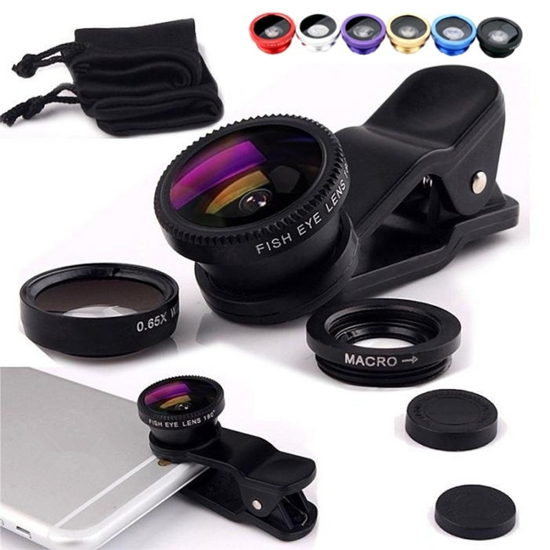 Lenses Macro Camera Movil Fish-Eye Wide-Angle Objetivo Xiaomi iPhone Huawei Samsung Telefoon title=