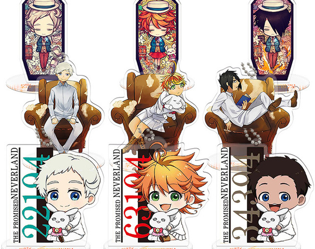 US $18 22 8% OFF|10pcs/lot The Promised Neverland Emma Norman Ray Cosplay  Party Acrylic Keychain Keyring Phone Pendant stand model toy Gifts-in  Action