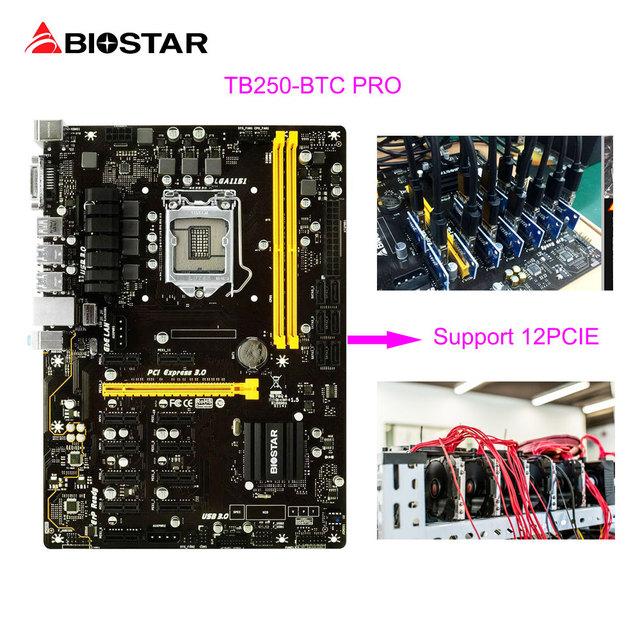 BIOSTAR Motherboard TB250-BTC PRO 100%New in Box 12PCIE For BTC Miner Machine Bitcoin Mining Riser Card 1151 DDR4 Up 32G USB3.0