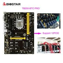 BIOSTAR TB250-BTC PRO Bergbau Motherboard 12 PCIE Unterstützung 12 Grafikkarte BTC ETH ZEC Bergbau TB250 BTC G3900 USB 3.0 1151 DDR4 32G