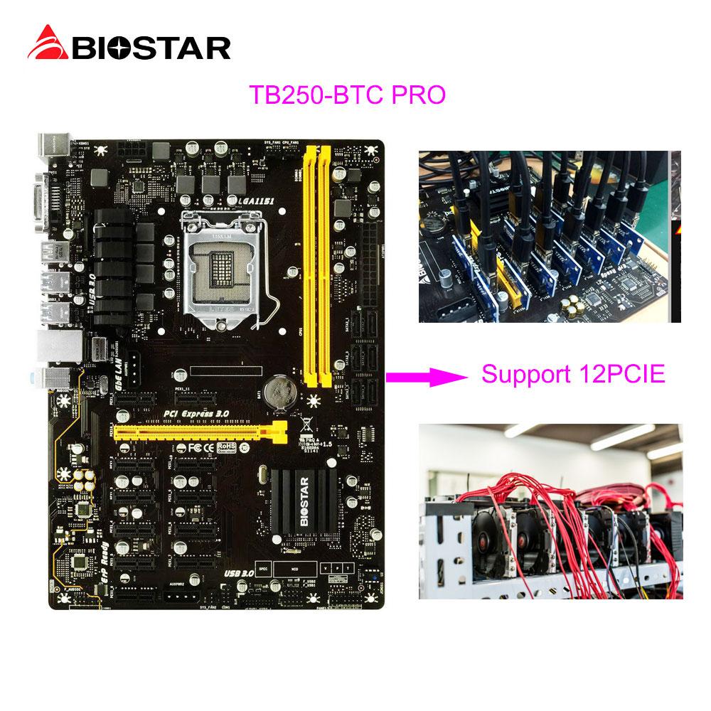 Biostar tb250-btc Pro добыча материнская плата 12 PCIe Поддержка 12 видео карты btc Eth zec добыча tb250 btc g3900 USB 3.0 1151 DDR4 32 г