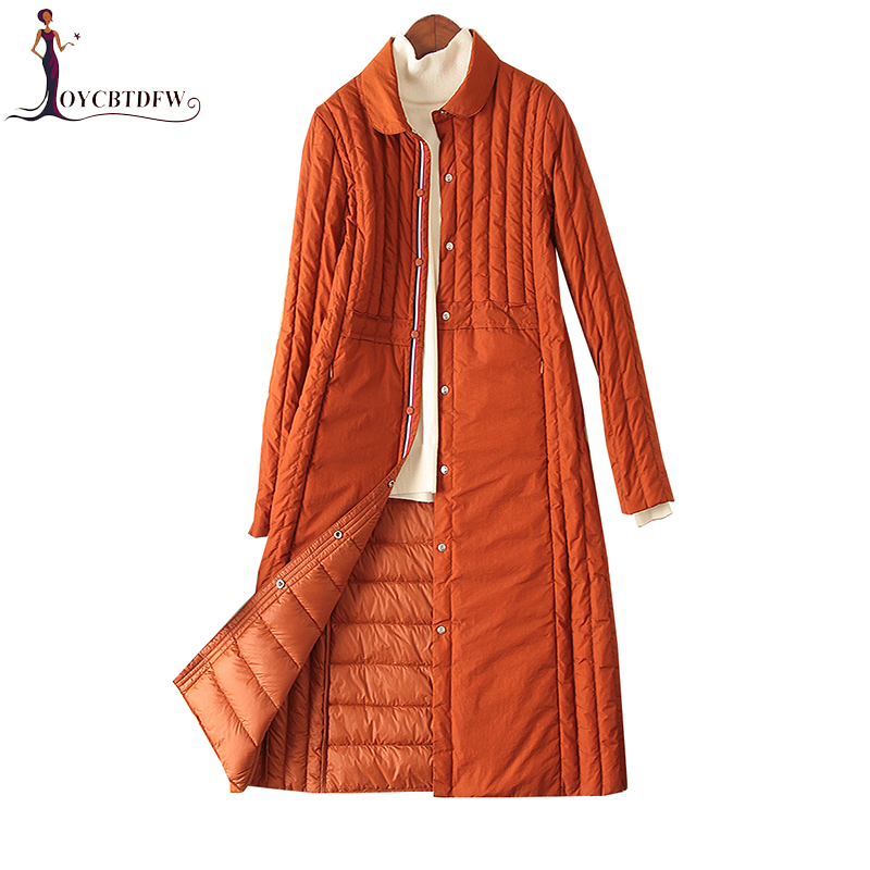 Winter Women Down Jacket 2018 New Mediun Long Fashion Outerwear Light thin Coat White duck down Female Solid color Jacket DD709