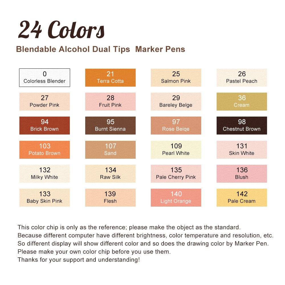 Details About Artist Touchnew Marker Pens 24 Colours Blendable Alcohol Markers Skin Tone Set