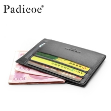 Padieoe Hot Sale Genuine Cow Leather Thin Card Case Front Pocket Card Holder Purse Luxury Slim Wallet Black with Coin Pocket