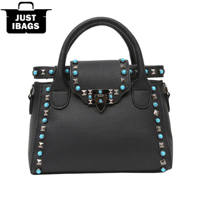 Fashion multicolor rivet women handbags quality pu leather messenger bags teenag