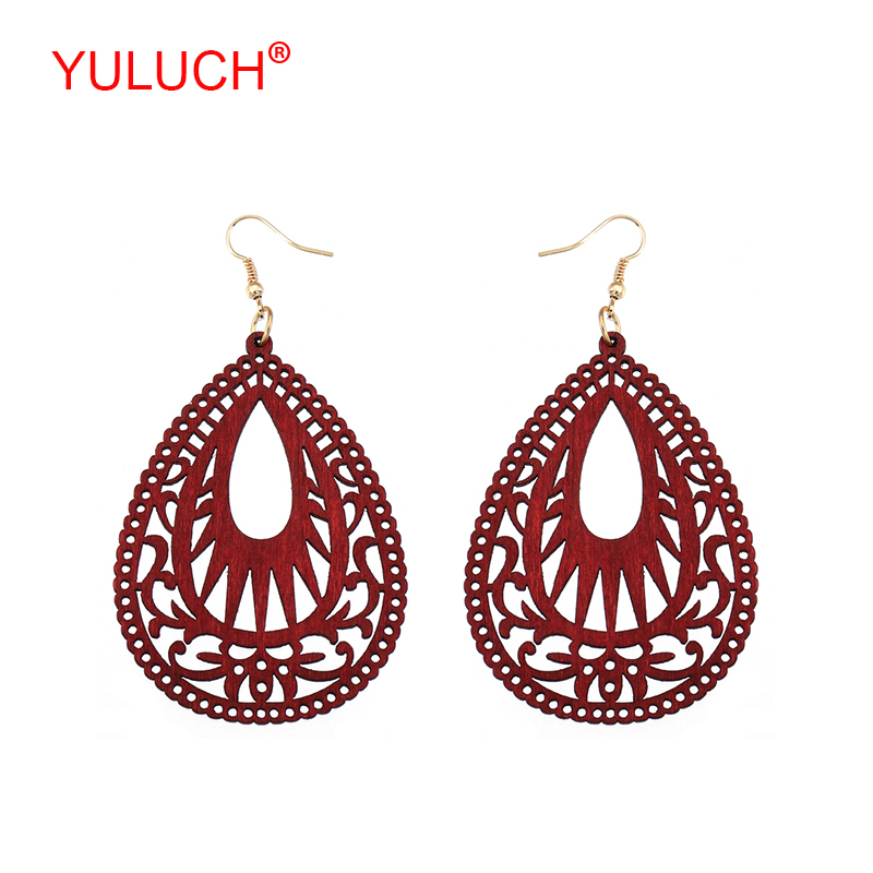 YULUCH 2018 New Arrival Natural Wooden Water Drops Hollow Ethnic Ornaments for Retro Women Earrings Popular Gifts