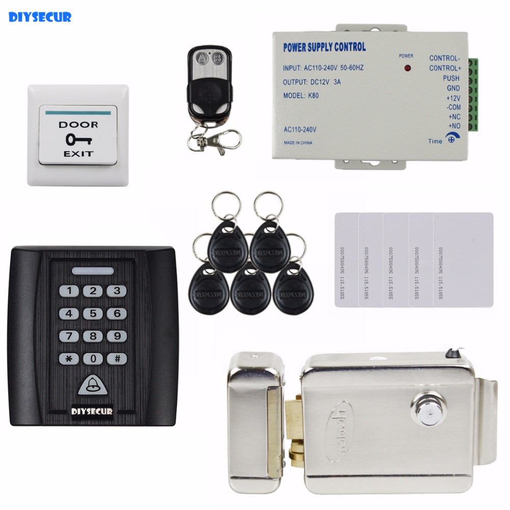 DIYSECUR Electric Lock 125KHz RFID Password Keypad Access Control System Security Kit Door Lock + Remote Control diysecur electric bolt lock 125khz rfid password keypad access control system security kit door lock remote control ks158