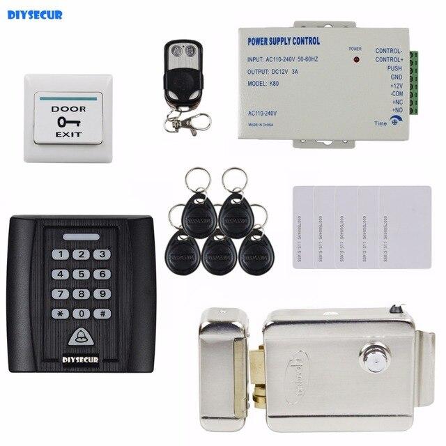 DIYSECUR Electric Lock 125KHz RFID Password Keypad Access Control System Security Kit Door Lock + Remote Control