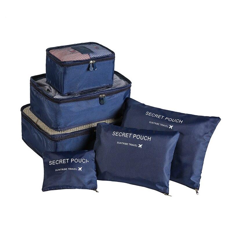 6 unids/set organizador de viaje bolsas de almacenamiento organizador de equipaje portátil ropa bolsa ordenada maleta caja de cubo de embalaje