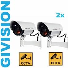Waterproof Fake dummy Camera Outdoor home security W/ Flashing LED Fake CCTV Camera Light surveillance camaras de seguridad